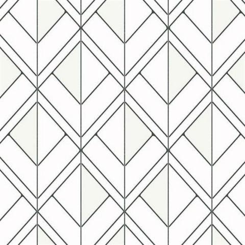 Gm7552 Black White Diamond Shadow Geometric Wallpaper