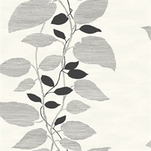 Black & White Etched Leaves Wallpaper