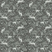Black & White Fable Rabit & Squirrel Animal Print Rifle Paper Wallpape