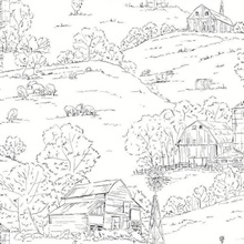 Black & White Farm Pasture Toile Wallpaper
