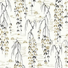 Black White Gold Willow Branches Wallpaper