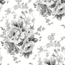 Black & White Heritage Rose Floral Wallpaper