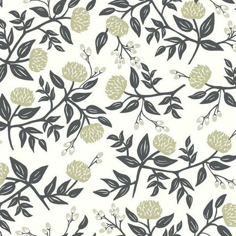 Black & White Large Scale Floral Peonies Rifle Paper Wallpaper