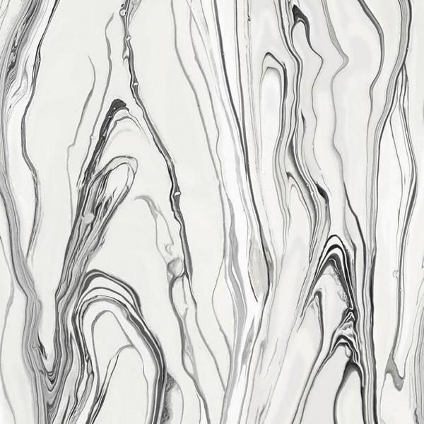 Cl2572 Black White Liquid Marble Wallpaper