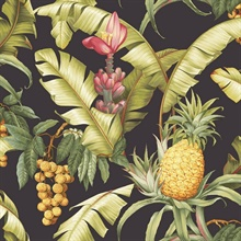 Black & Yellow Commercial Pineapple Floral Wallpaper