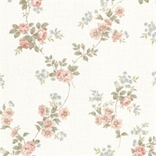 Blossom Salmon Floral Trail Wallpaper