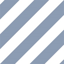 Blue and White Diagonal Stripe Prepasted Wallpaper
