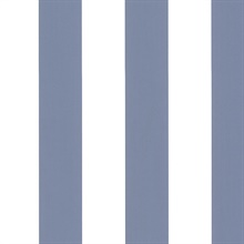 Blue and White Vertical 2.5in Tent Stripe Prepasted Wallpaper