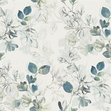 Blue Arbor Floral Vine Wallpaper