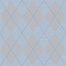 Blue & Baby Blue Argyle Plaid String Textured Wallpaper