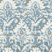 Blue Batik Damask Wallpaper