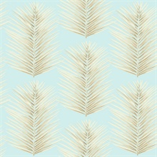 Blue & Beige Commercial Palm Leaves Wallpaper