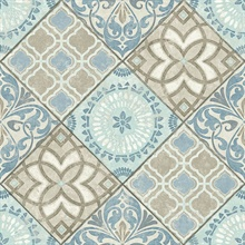 Blue & Beige Commercial Tile Wallpaper