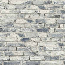 Blue & White Weathered Brick Wallpaper