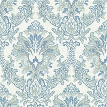 Blue Bold Borcade Damask Wallpaper