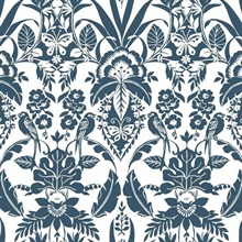 Blue Botanical Damask