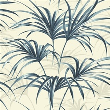 Blue Commercial Open Palm Leaf Wallpaper