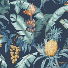 Blue Commercial Pineapple Floral Wallpaper