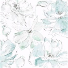 Blue & Geen Floral Dreams Wallpaper