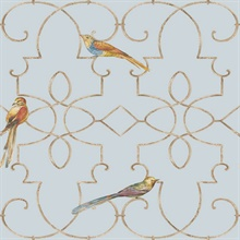 Blue & Gold Commercial Ironwork with Birds Wallpaper