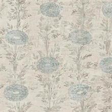 Blue & Gold French Marigold Wallpaper