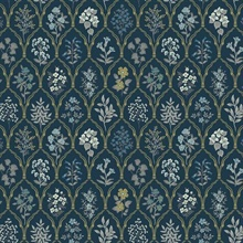 Blue & Gold Hawthorne Vintage Botanical Arches Rifle Paper Wallpaper