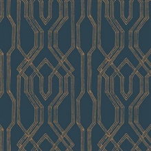 Blue & Gold Oriental Lattice Wallpaper