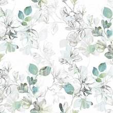 Blue & Green Arbor Floral Vine Wallpaper