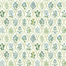 Blue & Green Hawthorne Vintage Botanical Arches Rifle Paper Wallpaper