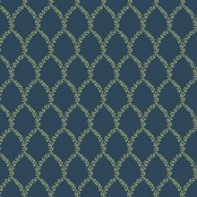 Blue & Green Laurel Floral Lattice Rifle Paper Wallpaper