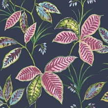 Blue, Green & Pink Commercial Leaves Wallpaper