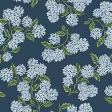 Blue, Green & White Hydrangea Floral Rifle Paper Wallpaper