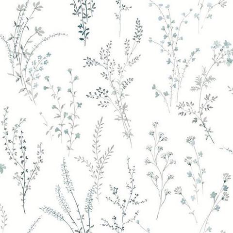 Fh4027 Blue Green Wildflower Sprigs Floral Wallpaper