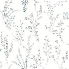 Blue & Green Wildflower Sprigs Floral Wallpaper