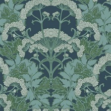 Blue & Green Yarrow Nouveau Wallpaper