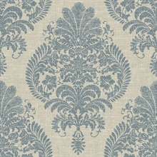 Blue & Grey Antigua Faded Damask Wallpaper