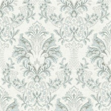 Blue & Grey Bold Borcade Damask Wallpaper