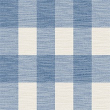Blue & Grey Rugby Gingham Check Plaid Wallpaper