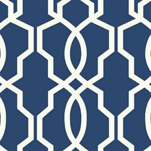 Blue Hourglass Trellis Geometric Wallpaper