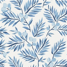 Blue, Light Blue & White Plums and Leaves Wallpaper