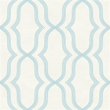 Blue & Off Wihte Commercial Geometric Wallpaper