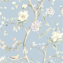 Blue, Purple & Green Southport Bird On Branches Floral Trail Wallpaper