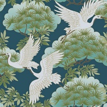 Blue Sprig & Heron Wallpaper