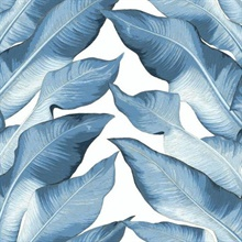 Blue & White Beverly Hills Large Banana Leaf Wallpaper