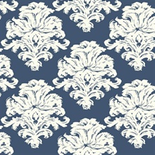 Blue & White Commercial Damask Wallpaper