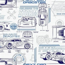 Blue & White Disney and Pixar Cars Schematic Wallpaper