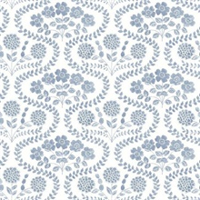 Blue & White Folksy Floral Wallpaper