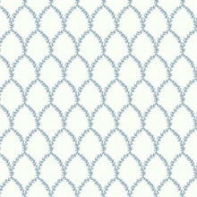 Blue & White Laurel Floral Lattice Rifle Paper Wallpaper