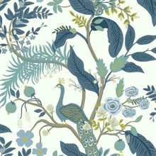 Blue & White Peacock Animal Print Rifle Paper Wallpaper