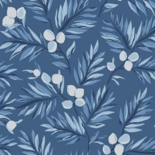 Blue & White Plums and Leaves Wallpaper